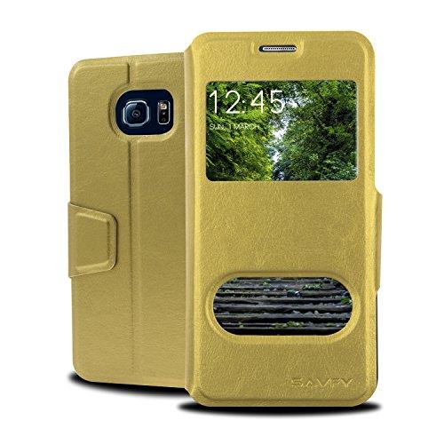 SAVFY® Samsung Galaxy S6 Edge Hülle Tasche Doppel View Fenster Case Kunstleder Schutztasche mit Magnetverschluss für S6 Edge G9250-gold