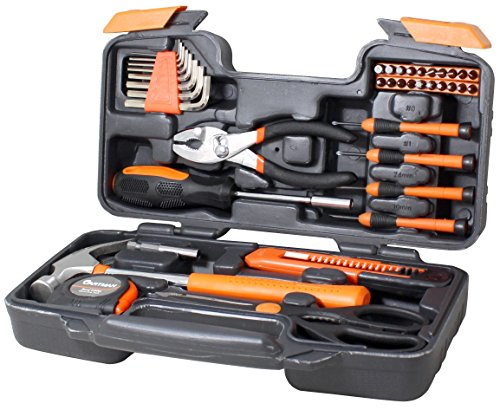 Cartman Orange 39-Piece Tool Set - General Household Hand Tool Kit with Plastic Toolbox Storage Case (Small Tool Set compare prices)