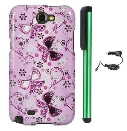 Review:  Lady Butterfly Premium Design Protector Hard Cover Case for Samsung Galaxy Note II N7100 (AT&T, Verizon, T-Mobile, Sprint, U.S. Cellular) Android Smart Phone + Luxmo Brand Car Charger + Combination 1 of New Metal Stylus Touch Screen Pen (4