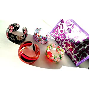 Acrylic Fashion Bangle Bracelet Gift Set of 4 Assorted Bracelets