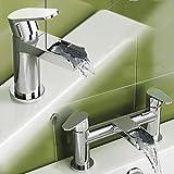 Designer Waterfall Basin Sink Mixer Tap and Modern Chrome Bath Filler Tap Set