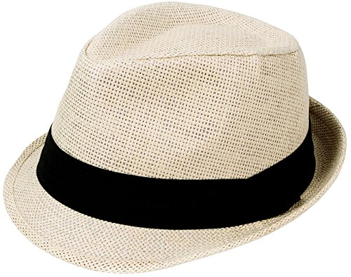 Simplicity Classic Natural Fedora Straw Hat, Black Band Available