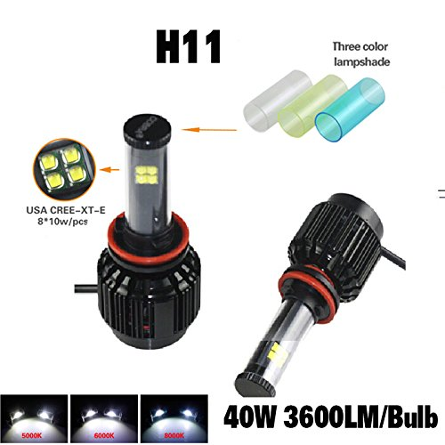 Suparee Automobile Head Lamp 40Wx2 3600X2Lm H11 Cree Xt-E Led Car All In One Head Light Driving Lamp 5000K 6000K 8000K Three Colors Fog Light Drl