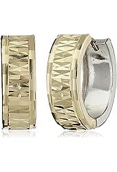 14k White and Yellow Gold Diamond-Cut Reversible Huggie Earrings