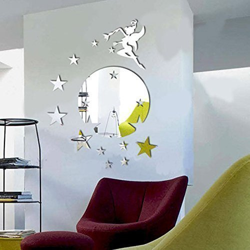 Walplus - Specchio tondo adesivo da parete, motivo: Campanellino e stelle, colore argento