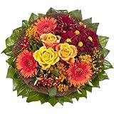 """Blumenstrauß  """"Füllhorn"""" mit orangen Rosen und Germini"""
