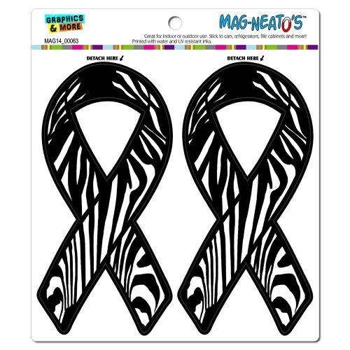 Zebra Print Support Awareness Ribbon MAG-NEATO'S(TM) Automotive Car Refrigerator Locker Vinyl Magnet Set (Zebra Print Fridge compare prices)