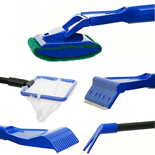 Yosoo 5 in 1 aquarium fish tank cleaning tool set cleaner for Fish tank cleaning kit