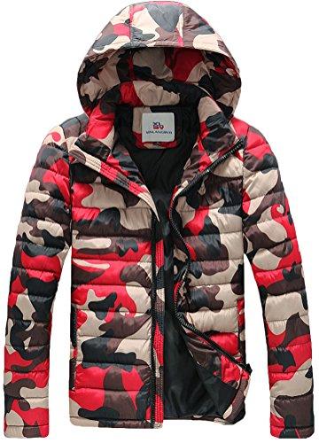 Fiream Herren Freizeit Winter Verdicken Warm Camouflage Mit Kapuze Daunenjacken(Rot,EUR XL)