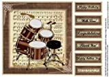 Sheet Music and Drum kit topper by Julie Hutchings