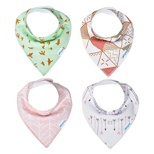Evedy Baby Bandana Organic Drool Bibs Boys Girls Gift Sets Absorbent Burp Cloths For Drooling and Teething 4 Pack