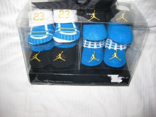 4-pairs Nike Air Jordan Booties Socks Crib Shoes 0-6m Baby Christmas Gift Blue/yellow/white/black