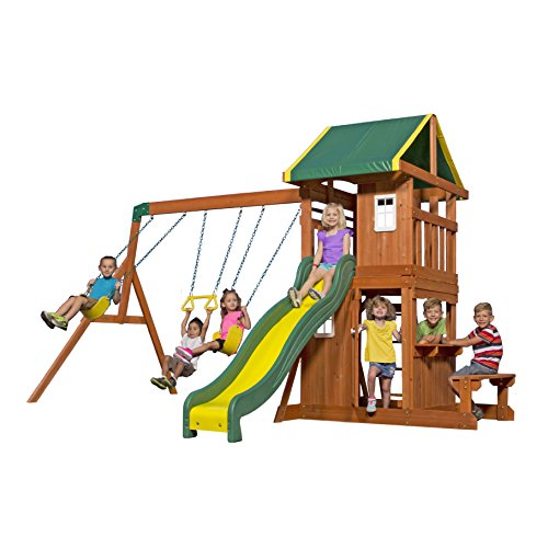 Backyard Discovery Oakmont All Cedar Wood Playset Swing Set (Wooden Playhouse With Slide compare prices)