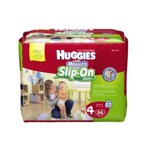Huggies Little Movers Slip-On Diapers, Step 4, 56 Count (Pack of 2)