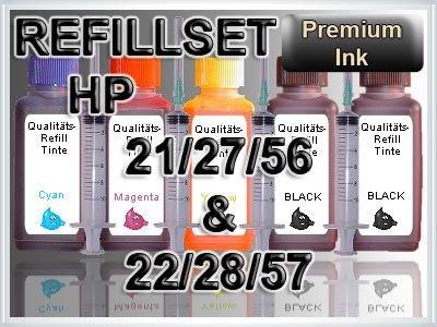 Tinte Refill Set Nachfülltinte Refillset Druckertinte HP21 HP22 HP27 HP28 HP56 HP57 21 22 27 28 56 57 DESKJET F2180 F2224 F325 F340 F4180 D1311 D1320 D1330 D2360 D2460 PSC 2105 2110 2175 2210