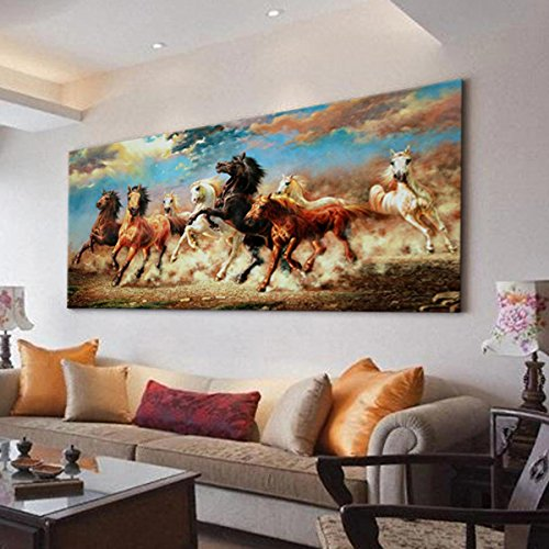 Modern art prints animal 8 running horse canvas art for Hang up paintings without nails