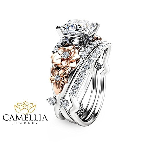 Princess Cut Moissanite Engagement Ring Set Floral 14K 2 Tone Gold Ring with Matching Band (Floral Engagement Ring compare prices)