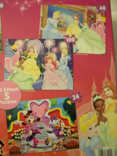 Disney Princess, Fairies, and Minnie Mouse Bow-tique Super 3D Five Puzzle Pack