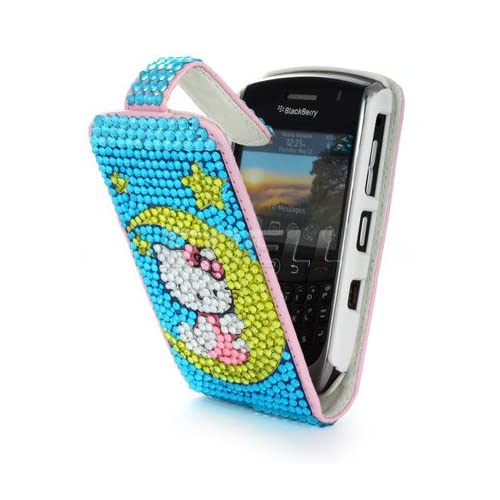 BLUE HELLO KITTY LEATHER BLING CASE FOR BLACKBERRY 8900 Electronics