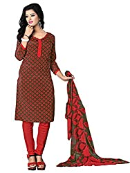 Fashion Queen Presents Brown Colored Unstitched Dress Material