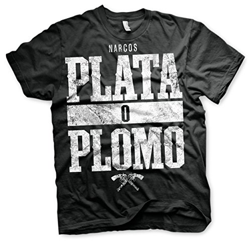 officially-licensed-merchandise-narcos-plata-o-plomo-t-shirt-black-x-large