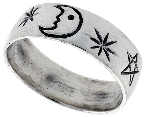 Sterling Silver Moon & Star Wedding Band Ring, size 6
