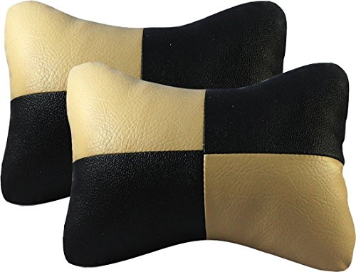 Auto Car Winner Neck Rest Cushion for Car (Set of 2, Black and Beige)