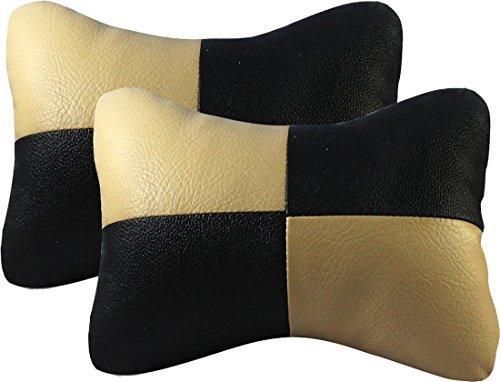 Auto Car Winner NR-BB-1 Car Neck Rest Cushion (Set of 2, Black and Beige)