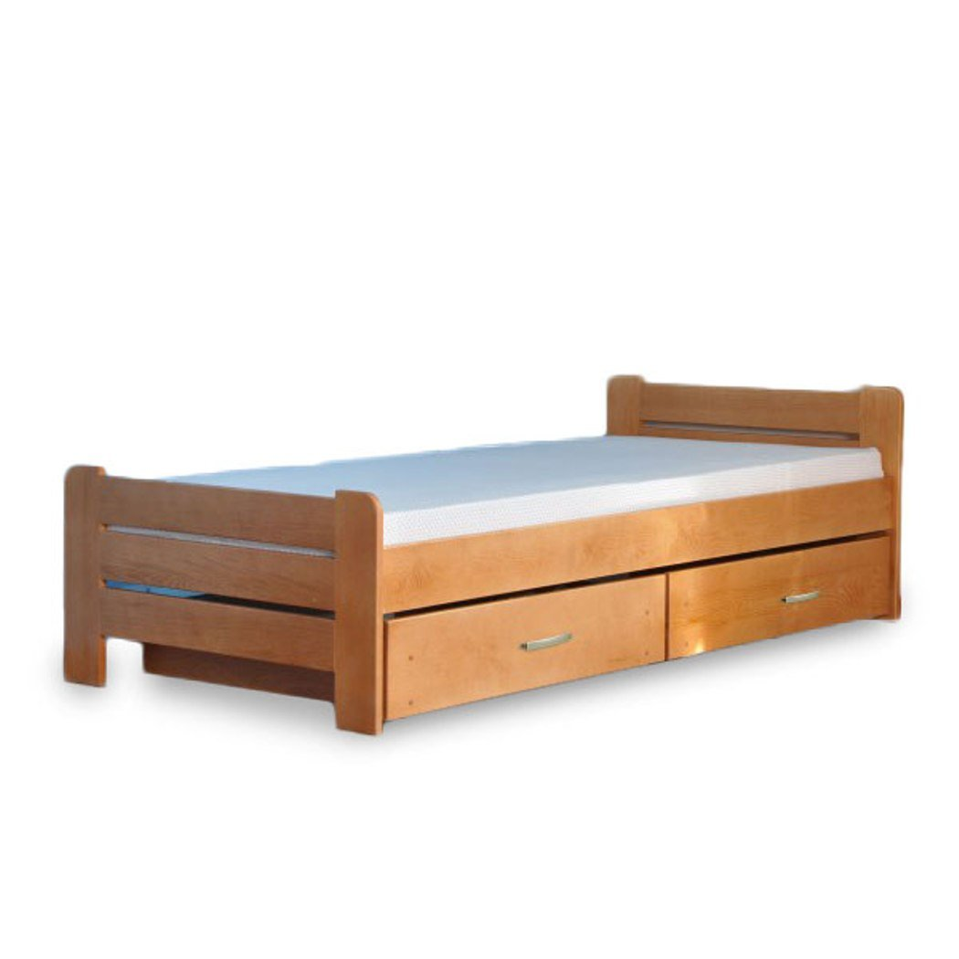Bett Einzelbett Jugendzimmer Schlafzimmer Bett Holz 1 Person Bartek Erle neu