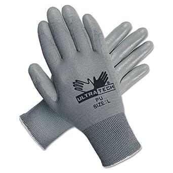Memphis Ultra Tech Tactile Dexterity Work Gloves, White/Gray, Large