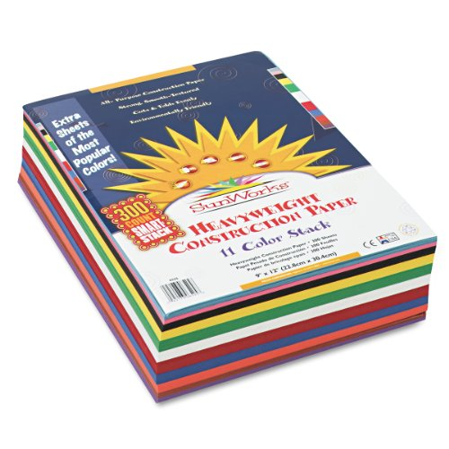 SunWorks Construction Paper Smart-Stack Asst, 9 inches x12 inches, 11 Colors, 300 Sheets (6525)