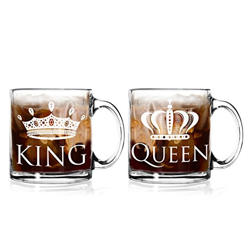 King and Queen Coffee Mugs 13 oz. (Set of 2) for the Mr. and Mrs. - Great Wedding, Anniversary Or Birthday Gift For Couples (American Made Coffee To Go Mug compare prices)