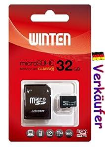Winten 32 GO Micro SD SDHC carte 32GO Classe 10, avec adaptateur SD