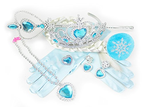 Frozen Elsa Inspired Princess Tiara Wig Necklace Earrings Gloves Jewelry Set of 7