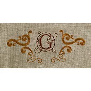 Grasslands Road Cucina Monogram Letter Initial G Embroidered Scrollwork Tea Towels, Set of 2 at Sears.com