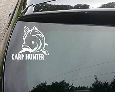 Carp Hunter Fishing Funny Car/Bumper Vinyl Decal Sticker 150mm by devon decals
