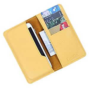 Dooda Genuine Leather Wallet Pouch Case For XOLO Q900s Plus (YELLOW)