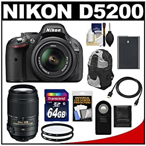 Nikon D5200 Digital SLR Camera & 18-55mm G VR DX AF-S Zoom Lens (Black) with 55-300mm VR Lens + 64GB Card + Battery + Backpack Case + Filters + Accessory Kit