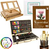 Custom Artist Painting Kit with Easel, Color Creativity 82 Piece Set, 9 X 12 Watercolor Pad