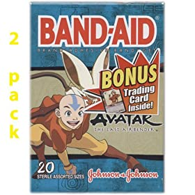 Band Aid, Avatar The Last Airbender, 20 Sterile Assorted Sizes, (Pack of 2) + BONUS Trading Card Inside