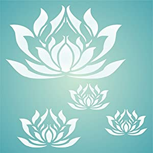 "LOTUS FLOWERS STENCIL (size 7""w x 7""h) Reusable Stencils for Painting"