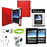 CrazyOnDigital Red Leather Case Cover with Charger and Screen Protector for iPad 3 (2012 Model) & Apple iPad 2 / iPad HD AT&T Verizon 4G LTE (8-item) ~ CrazyOnDigital