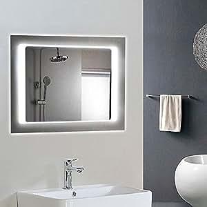Horizontal led bathroom silvered mirror - Large horizontal bathroom mirrors ...