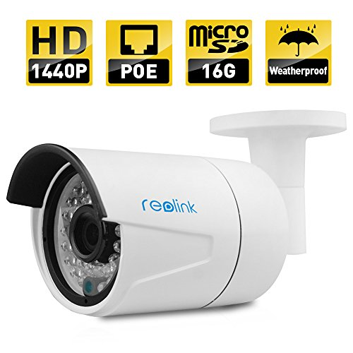 IP Camera, Reolink 4-Megapixel 1440P POE Security IP Camera Outdoor Bullet, Built-in 16GB Micro SD Card, Night Vision 65-100ft ,Viewing Angle 80?? 2560×1440, E-mail Alert, Motion Detection