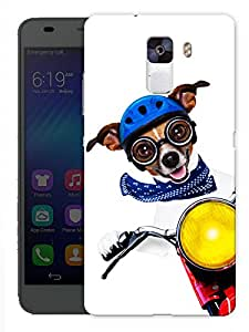 """Humor Gang Cute Dog Driving Bike Printed Designer Mobile Back Cover For """"Huawei Honor 7"""" (3D, Matte, Premium Quality Snap On Case)"""