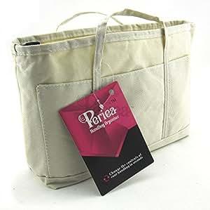 Periea - Sac de rangement/Pochette/Organisateur sac à main, 13 poches avec poche secrete 24x16x6cm - Alice beige