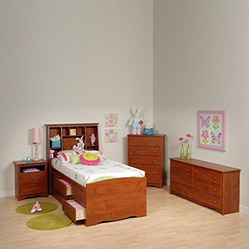 Prepac Monterey Cherry Tall Twin Wood Platform Storage Bed 4 Piece Bedroom Set