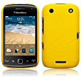 BLACKBERRY CURVE 9380 YELLOW TEXTURED PU LEATHER BACK COVER CASE / SHELL / SHIELD PART OF THE QUBITS ACCESSORIES RANGEby Qubits