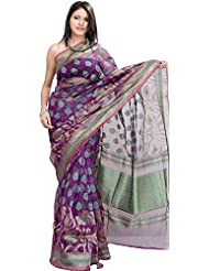 Exotic India Purple-Magic Banarasi Saree With Woven Flowers And Brocade - Purple