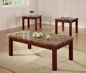 3PC Marbleized Coffee Table Set With One Coffee Table And Two End Tables In Walnut Finish. (Item# Vista Furniture CF700305)